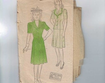 1940s Vintage Sewing Pattern New York 622 Misses Two Piece Dress Suit Size 16 Bust 34 1940s  99
