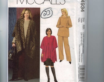 Womens Sewing Pattern McCalls M4934 4934 Jacket Skirt Pants Poncho Plus Size 18W-24W Bust 40-46 UNCUT