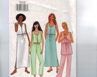 Misses Sewing Pattern Butterick 3539 Misses Pajamas Pjs Nightgown Lounge Dress Nightshirt Size 6 8 10 12 14 16 BUST 30 31 32 34 36 38 UNCUT