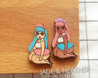 TUFF GRL TOTEM - Handpainted Cherry Wood Brooch / Lasercut pin 3cm tall