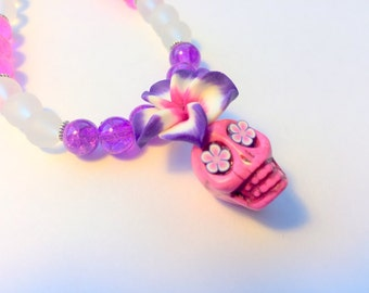 Sugar Skull Plumeria Necklace Day of the Dead Beaded in Pink and Purple