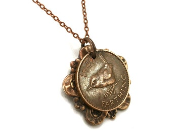British farthing coin necklace, antique copper finish, 1949