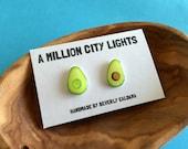 Hand Drawn Avocado Earrings Studs