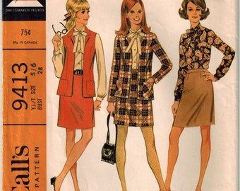 Vintage 60s Jacket Skirt Blouse Sewing Pattern Young Junior McCalls 9413 Bust 28 Teen Separates Fitted Skirt Open Jacket Button Front Blouse