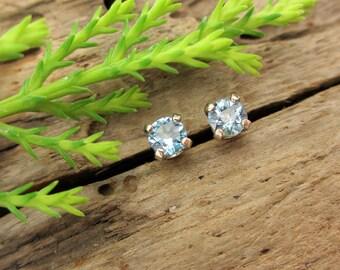 Montana Sapphire Earrings in 14K White Gold Screw Backs with Genuine Gems, 3mm