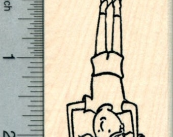 Girl Headstand Rubber Stamp, Active Child Series, Yoga H30504 Wood Mounted