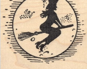 Halloween Witch on Broomstick Rubber Stamp, with Moon K29009 Wood Mounted