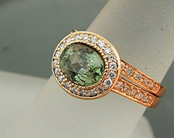 AAA Green Sapphire   7.5x5.8mm  1.52 Carats   Oval 14K Rose gold Halo bridal set with .35cts of diamonds. 792