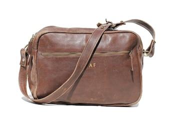 Vintage Men's Dark Brown Leather Shoulder or Overnight Bag