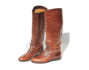 Vintage Brown Leather Riding Boots / Ankle Lace Tall Boots / size 6.5