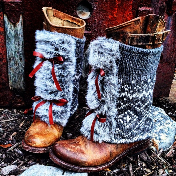 Fair Isle Peek~A~Boo MUK LUKS Boot Sweaters / Happy New Year To You / Mongolian Faux Fur Trim, Leather Bow Ties ~ Made to Order