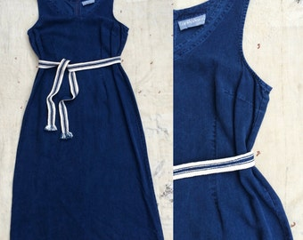 vintage deep indigo v neck tank dress w. handmade reversible woven African indigo sash belt