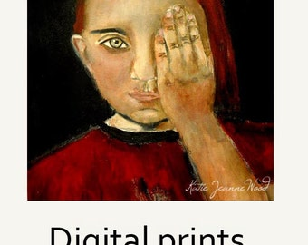 Half Blind Little Girl's Room Decor. Red Pigtails Portrait Painting Print. Home Wall Art Digital Prints. Miz Katie Art