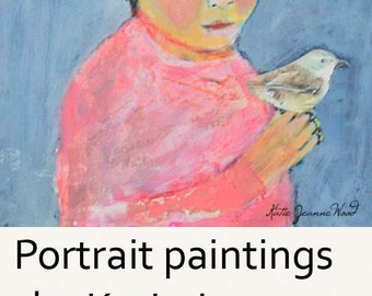 Acrylic Portrait Painting. Original Canvas Art. Girl & Wren Bird Painting. Whimsical Art.