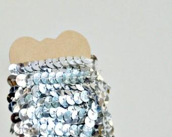 Silver Sequin Ribbon Trim {5.0m} DIY Craft Supply | Wedding Christmas Festive | Holiday Gift Wrap | Sparkle Trim  | SALE