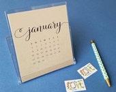 2017 Desktop Calendar - Black Hand Lettered Calligraphy Script Desk Calendar on Recycled Kraft Card Stock