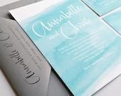 NEW Annabelle Aqua Watercolor Beach Wedding Invitation Sample - Modern Calligraphy Script Destination Blue Watercolor Wedding Invitation