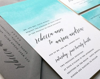 NEW Rebecca Teal Watercolor Wedding Invitation Sample - Destination Aqua Blue Watercolor Beach Wedding Invitation