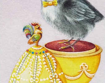 Faberge' Inspired Easter Egg & Chick No 6 Miniature Art - Limited Edition ACEO Giclee Print reproduced from the Original Watercolor