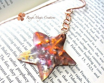 Starfish Bookmark, Hammered Copper Star Fish, Bookworm Gift for Beachcomber, Rustic Metal Star, Primitive Metalwork, Colorful Beach Theme