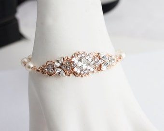 Wedding Jewelry Rose Gold Bridal Bracelet Pearl Wedding Bracelet ANNA BRACELET