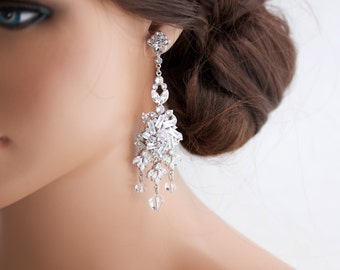 Wedding Chandelier Earrings Crystal Chandelier Earrings Bridal Statement Earrings Wedding Jewelry AINSLIE