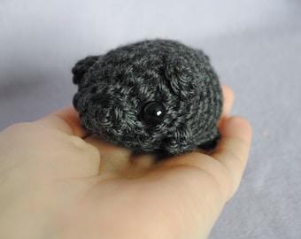 Black Pug Amigurumi / Crochet Pug / Cute Pug Plush / Pug Plushie - Mini Fat Crochet Dog Plush - Made to Order