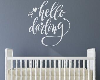Nursery Art   hello darling   hello darling wall decal   baby room design   hand drawn lettering