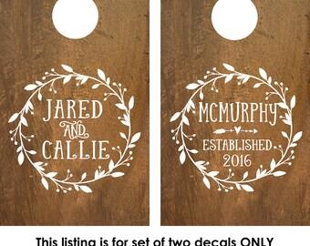 Cornhole Boards Decals | Custom Cornhole Boards | Decals for cornhole boards | Cornhole board designs | rustic wedding