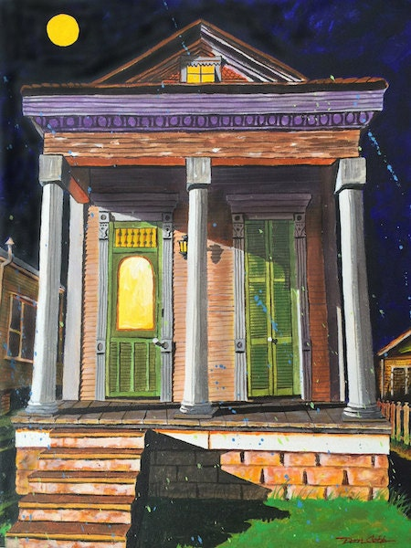 Halloween New Orleans French Quarter Shotgun House Art Print