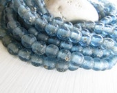 Round blue glass beads, rustic blue lampwork beads, translucent gritty textured aged look indonesian 8mm - 9mm (16 beads)  6bb27-1