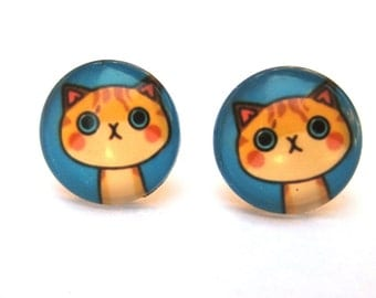 Cat Earrings Glass Cabochon Studs, Cartoon Cat, Orange Kitty, Whimsical Jewelry