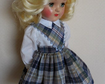 "For 19"" P-92 Ideal Toni Doll - Plaid School Girl Dress in Blue and Green Plaid"