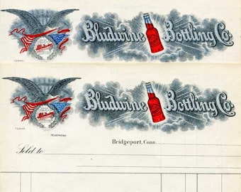 Group of 4 Antique 1900 Vintage Advertising Billheads, Invoice, Bludwine Bottling Co, Bridgeport CT, Unused, Eagle and US Flag
