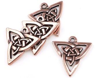 Celtic Pendants - Antique Copper Pendants - TierraCast Celtic Triangle Drops - Irish Knotwork Copper Charms (P827)
