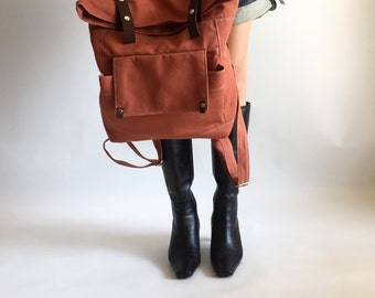 Orange Pumpkin backpack, Leather canvas Satchel, Unisex school bag, travel Laptop Rucksack ,canvas diaper backpack/ SALE 30% -no.105 ALLISON