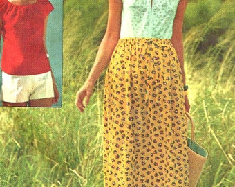 1970s Skirt Pattern Jiffy Pullover Peasant Top Shorts Vintage Sewing Simplicity Women's Misses Size Small Bust 31. 5 - 32. 5 Inches