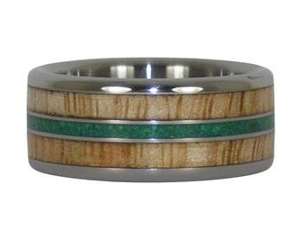 Hawaiian Mango Wood and Malachite Ring