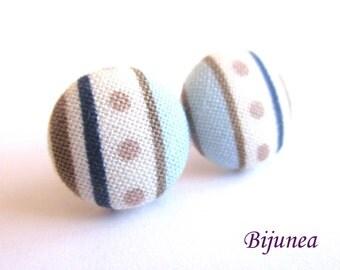 Stripe earrings - Blue stripe stud earrings - white stripes posts - Baby blue stripes post earrings sf1317