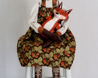 Large One of a Kind Hand-Painted Woodland Folk Art Red Fox Doll with Sleeping Baby - Signed Collectible Anthropomorphic Appalachian Art