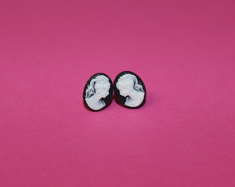 Tiny Black & White Victorian Lady Cameo Earrings