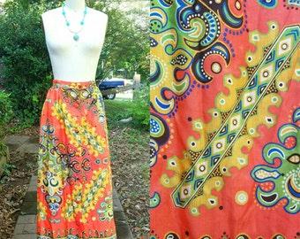 SALE 1970s Vintage Orange Paisley Maxi Skirt High Waist Button Up Skirt Blue Green Yellow Paisley Straight Maxi Skirt Size Extra Small