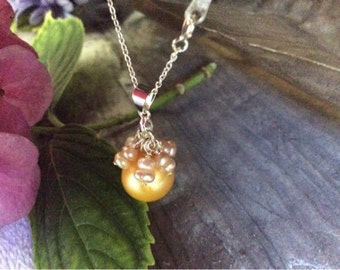 Gold / Yellow South Sea Pearl Necklace on Sterling Silver Chain