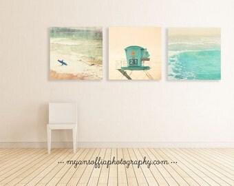 beach photography print set, beach gift, surfer photo, lifeguard tower art, ocean wave print, coastal decor, boys room art, under 40