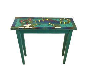 Art Glass Tile Cat Table, Handmade Vintage Whimsical Kitty
