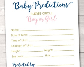 Baby Predictions Baby Shower Game Instant Download Printable PDF with Pink Blue and Gold Polka Dot Confetti