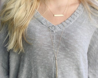 Gold Bar Necklace, Gold Initial Necklace, Dainty Gold Necklace, Gold Bar Initial Necklace, Bridesmaid Gift, Initial Jewelry