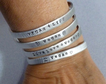 Vegan Thin Hand Stamped Aluminum Cuff Bracelet - Vegan Cuff Bracelet - Vegan Jewelry - Personalized Skinny Stacking Cuff Bracelet