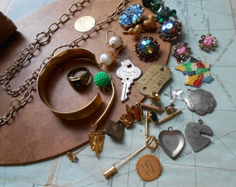 34pc junk jewelry destash lot - jewelry making supplies, vintage jewelry pieces, artist supplies