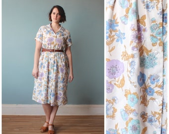 plus size dress / white floral spring shirt dress / 1960s / XL-XXL